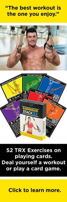 Suspension Stack 52 has 52 TRX exercises on playing cards.  Scan the QR code with your smartphone or tablet for a video demonstration of the exercise.  Deal yourself a workout or play card game.  Stack 52 makes exercise fun! www.stack52.com/suspension