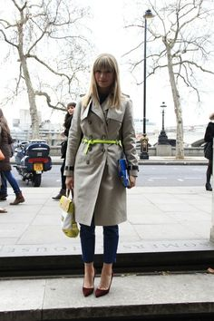 Trenchcoat and neon green belt