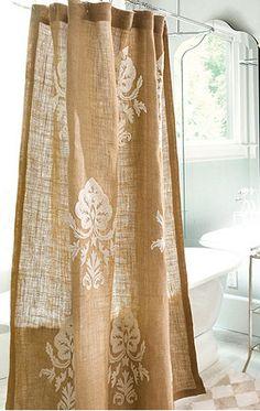 burlap shower curtain- make extra long?