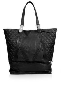 Quilted Zip Bottom Shopper Bag - Bags & Purses - Accessories - Topshop Europe #black #borsa