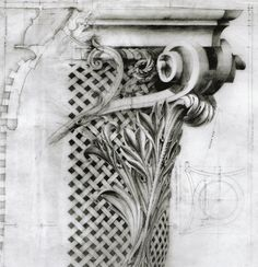 Architectural Drawing Patterns Corinthian Capital, Worshipful Company of. Detailed Drawings, Love Drawings, Drawing Sketches, Drawing Tips, Drawing Ideas, Architecture Drawings, Architecture Details, Historic Architecture, Corinthian Order