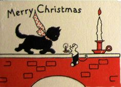 Art Deco Merry Christmas with black cat and mouse