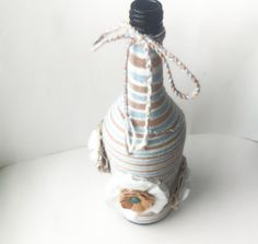 Yarn Wrapped Bottle - Sea Glass Style Vase - Beach Themed Wedding Centerpiece - Blue and Brown Vase - Hand Wrapped