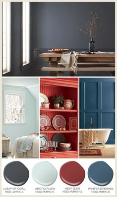 Conifers, snow day necessities and blustery winds inspired this palette of paint colors from Behr.