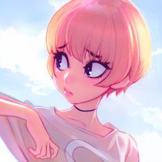 Clouds by Kuvshinov-Ilya, Digital Painting Portrait, Cute Pink Haired Girl, cloudy Day, Illustration, Kawaii, Anime, Inspirational Art