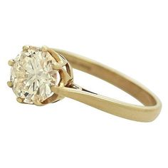 Yellow Gold Diamond Ring   Vintage/ Contemporary ($8,860) ❤ liked on Polyvore featuring jewelry, rings, vintage diamond ring, vintage diamond jewelry, diamond jewellery, gold jewelry and vintage jewellery