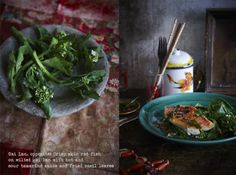 Crisp skin red fish on wilted gai lan with hot and sour tamarind sauce and fried basil leaves