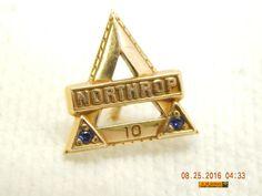 NORTHROP 10 YEARS AWARD PIN! 1/10 10K! PREVIOUSLY OWNED & WORN! NO BOX! AS IS!