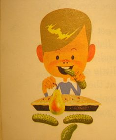 This boy likes to eat his on the side of his sanglewich. Vintage French Posters, Vintage Children's Books, Vintage Food, Boy Character, Character Design, Children's Book Illustration, Art Illustrations, Boy Onesie, Onesies