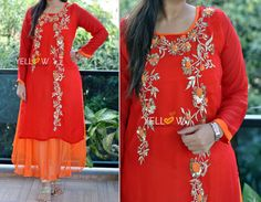 CREEP SEQUINS ! Georgette double layered kurti with heavy sequin and thread floral embroidery .Sizes - M L XL XXL Price - 2299 INR Kindly write to us at teamyellow@yellowkurti.com or private message us here on Facebook for Orders !  15 December 2016 15 December, Woman Clothing, Kurtis, Floral Embroidery, Anarkali, Contrast, Dressing, Sequins, Tunic Tops