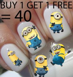 20 MINIONS DESPICABLE ME Nail Art Decals Stickers Water Transfers Wraps