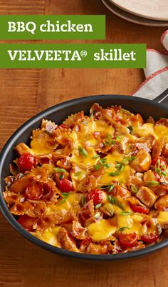 BBQ Chicken-VELVEETA® Skillet – Delight your taste buds with this deliciously saucy and cheesy dish. This savory skillet recipe incorporates VELVEETA®, green onions, cherry tomatoes, and bow-tie pasta for a winning dinnertime creation.
