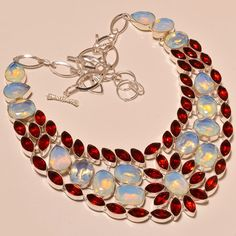 """.925 Silver Dazzling Milky Opal With Mozambique Garnet Love Gift Necklace 18"""" #Handmade"""