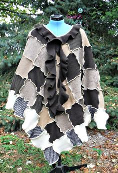 Poncho & Matching Arm Warmers Shawl Cape Hippie by SewFreakinHappy
