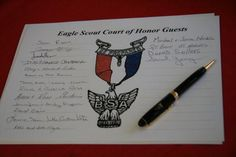 Eagle Scout Court of Honor Guests. Put it on a page that can be added to the back of his scouting scrapbook