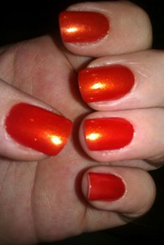 """""""Inferno"""" Orange Wet -n- wild Happy Halloween Nails :-)"""