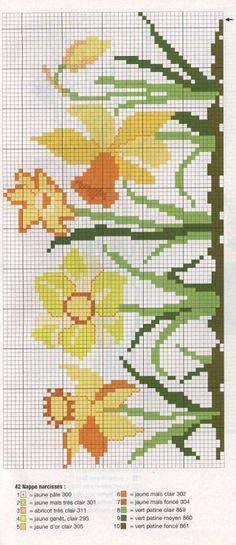 Gallery.ru / Фото #3 - кайма бордюры - irisha-ira | Jonquil daffodil cross stitch pattern