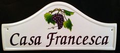 Large Arch House Sign with bunch of grapes.  Visit www.handpaintedhousesigns.co.uk to see more of our hand painted house signs, house number signs and house name plates. Email sales@handpaintedhousesigns.co.uk for a mock up.