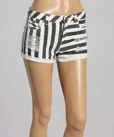 Look at this #zulilyfind! Black Stripe Distressed Denim Shorts by Barcode Apparel #zulilyfinds
