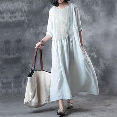 Solid Loose Folded Pocket Women Elbow Sleeves Blue Dress - Buykud