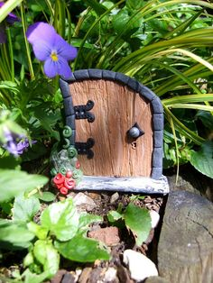 MAGICAL Fairy Door  with Quartz Crystals  a by TheCaterpillarQueen, £11.95