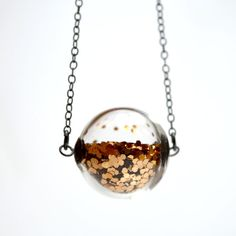 Glitter necklace in round hand blown glass beads antiqued sterling silver.These sparkle glit...
