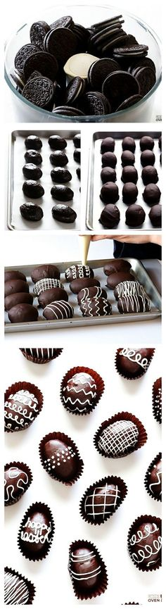 Easter Egg Oreo Truffles -- these delicious treats are made easy with just 4 ingredients. Use a family sized bag of Oreos. If not using for Easter a tablespoon sized truffle would be perfect to dip. Holiday Desserts, Holiday Baking, Holiday Treats, Just Desserts, Holiday Recipes, Dessert Recipes, Easter Desserts, Recipes Dinner, Party Desserts