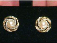 Pearl & 0.15 ctw Diamond 14K Yellow Gold Earrings
