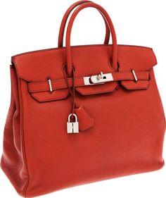 Hermes 32cm Coq de Roche Chevre Leather HAC Birkin Bag with Palladium Hardware