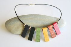 Leather Statement Necklace Rainbow Necklace by EchidnaArtandCards