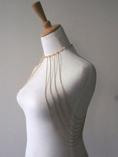 Pearl & Crystal Choker Body Jewelry Gold or Rose Gold or by VENEAI