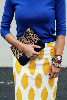 Bold Pattern skirt in white and yellow with cobalt blue... and leopard print clutch- cute for work