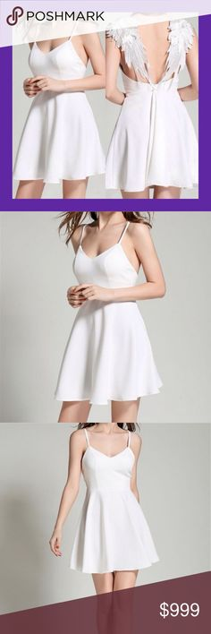 JUST ARRIVED! Stunning Angel Wings Dress Stunningly beautiful! ✨ Ethereal white fit-n-flare dress with wings! Classic silhouette with beautiful appliquéd wings on the back straps.  Invisible back zipper.  Runs a little small, please see last pic above for exact measurements. Material: polyester (mid-to-lightweight, no stretch). Boutique Dresses Mini
