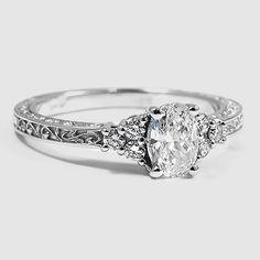 18K White Gold Adorned Trio Diamond Ring // Set with a 0.54 Carat, Oval, Good Cut, I Color, SI1 Clarity Diamond #BrilliantEarth