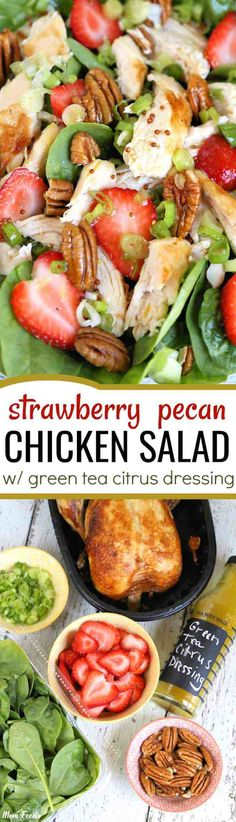 Fresh spinach, strawberries & scallions, team with rotisserie, pecans and an easy vinaigrette featuring the same Lipton Green Tea Citrus Iced Tea that will be served with it as a beverage.  Friends can help with the simple prep and everyone will enjoy a fresh unique meal.  Most of us haven't experienced tea in a salad dressing, but trust me the somewhat unusual flavor choice really works in this salad. #salad #strawberry #greentea #chickenrecipes