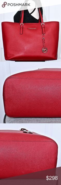 728e7f7147dc31 MICHAEL KORS Red Saffiano Leather Tote/Bag/Purse MICHAEL KORS Jet Set Rare  Red
