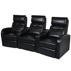 Anself Artificial Leather Home Cinema Recliner Reclining Sofa 3-seat Black #recliningsofa