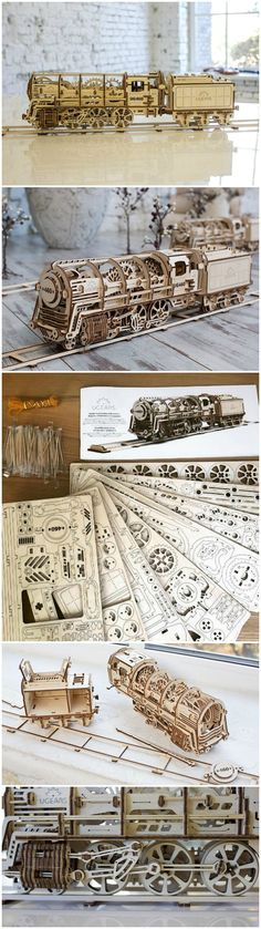 The UGEARS 460 Locomotive self-assembled plywood 3D model is propelled by rubber bands and an array of gears instead of superheated steam. No glue required.