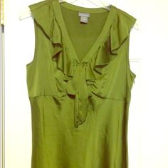 """""""Olive"""" you in this gorgeous green blouse!! This Ann Taylor blouse with an adorable collar ruffle is trendy and perfect for an important meeting or a girls' night out! Ann Taylor Tops Blouses"""