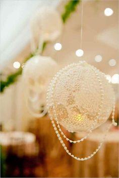 Lace doilies lanterns