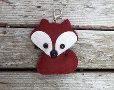 wool felt mini fox christmas ornament / keychain / mobile attachment / car mirror ornament - rustic crimson