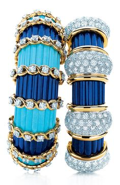 Bracelets designed by Jean Schlumberger for Tiffany & Co, 18K yellow gold with diamonds, turquoise and lapis lazuli.