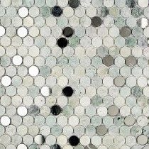Paradigm Ming Green With Mirror Penny Round Marble and Glass Tile