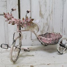 Bicycle home decor hand painted pink by AnitaSperoDesign on Etsy