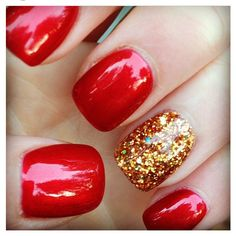 Red nails with sparkly gold. Fall nails Nails ❤ liked on Polyvore featuring beauty products, nail care, nails, nail polish, beauty and makeup