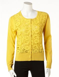 cleo - Yellow Lace Front Cardigan