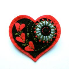 embroidered felt heart pin