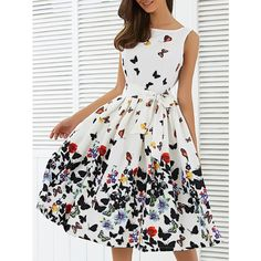 Sleeveless Floral Self Tie A Line Dress (38 BAM) ❤ liked on Polyvore featuring dresses, sleeveless floral dress, floral print sleeveless dress, white day dress, floral day dress and white dress