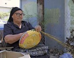 Cypriot woman engaging in traditional basketmaking