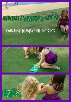 Outdoor Number Order Sorting Game for Preschool | The Preschool Toolbox Blog